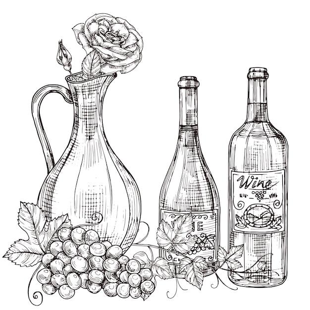 Garrafa de vinho desenhada de mão com rosas, garrafas de vinho, ilustração de uva Vetor Premium