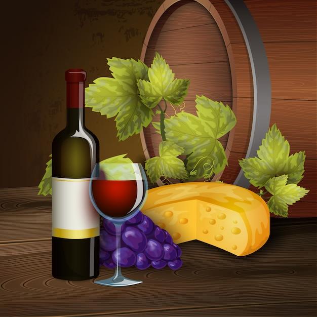 Garrafa de vinho e fundo de barril de carvalho Vetor grátis