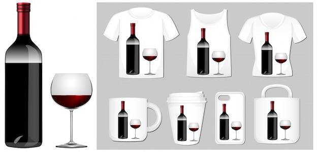 Garrafa de vinho e vidro em diferentes modelos de produtos Vetor grátis