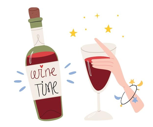 Garrafa de vinho em estilo cartoon. Vetor Premium
