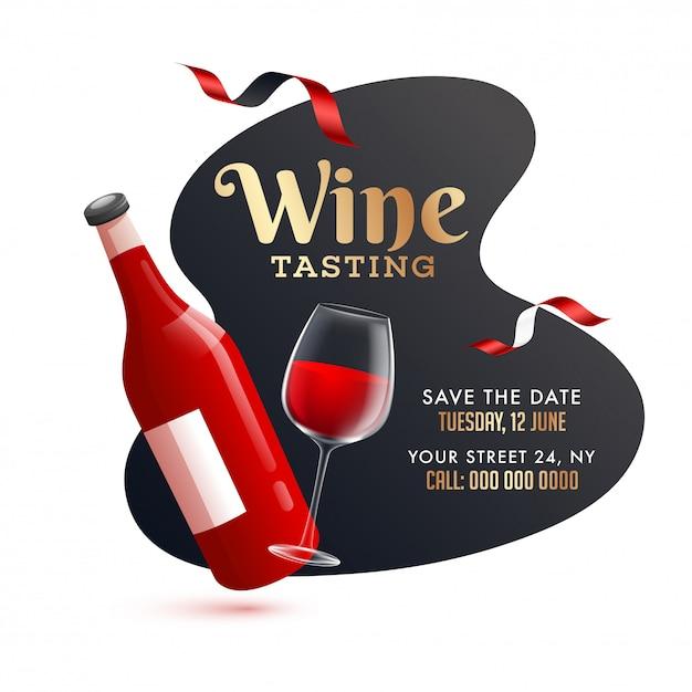 Garrafa de vinho realista com copo de bebida em abstrato para degustação de vinhos Vetor Premium