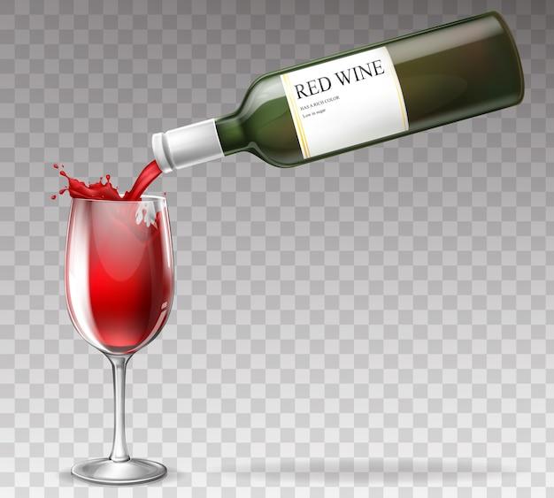 Garrafa de vinho realista, espirrando em um copo de vinho Vetor grátis