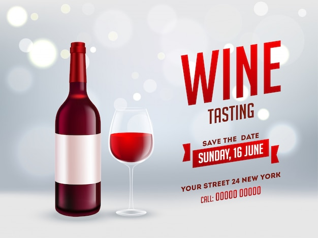 Garrafa de vinho realística com vidro da bebida no fundo cinzento brilhante do bokeh para o projeto da bandeira ou do cartaz da degustação de vinhos. Vetor Premium