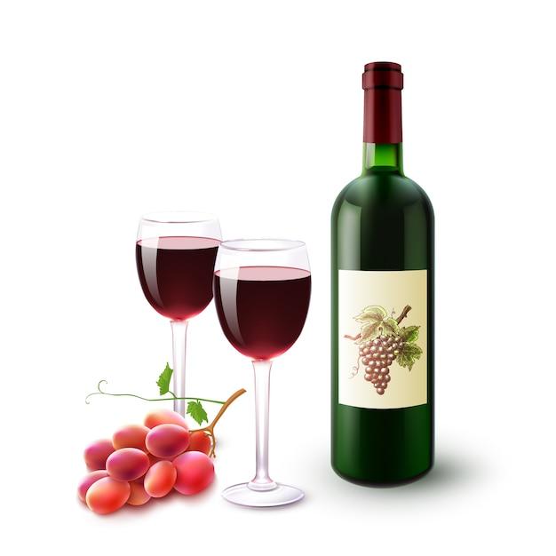 Garrafa de vinho tinto, vidros e uvas Vetor grátis