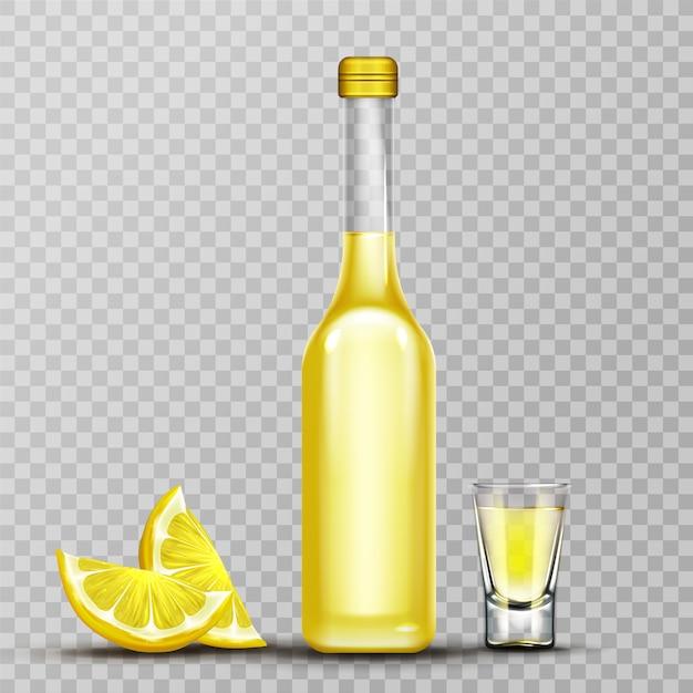 Garrafa de violoncelo de ouro e copo de shot Vetor grátis