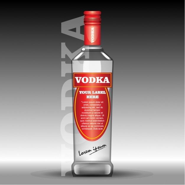 Garrafa de vodka com etiqueta vermelha Vetor grátis