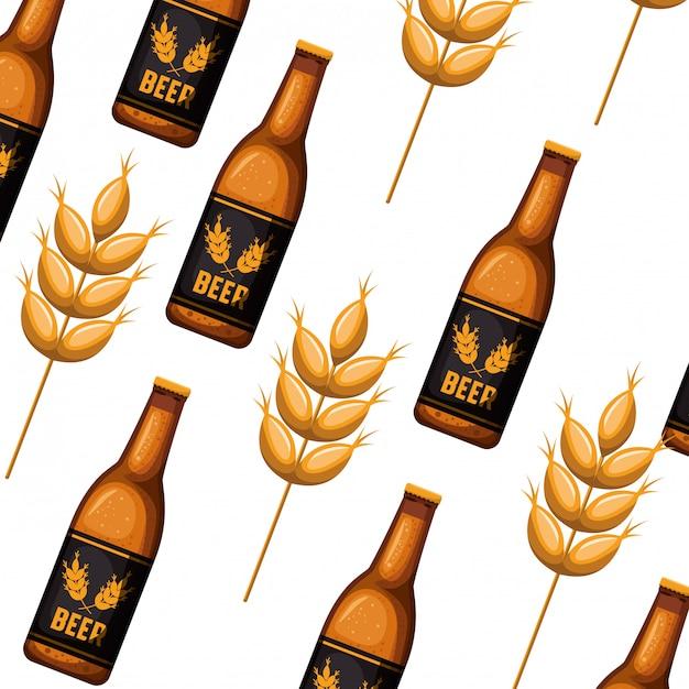 Garrafa padrão de ícone isolado de cerveja Vetor Premium