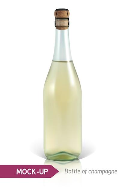 Garrafa realista de champanhe em um fundo branco com reflexão e sombra. modelo de etiqueta. Vetor Premium