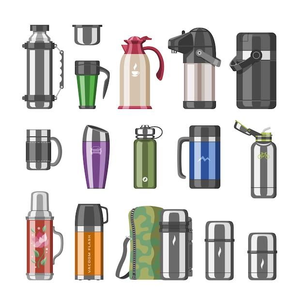 Garrafa térmica a vácuo ou garrafa de aço inoxidável com bebida quente café ou chá conjunto de ilustração de recipiente de metal engarrafado ou caneca de alumínio no fundo branco Vetor Premium