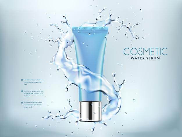 Garrafas cosméticas azuis com salpicos de água. Vetor Premium