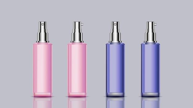 Garrafas cosméticas de maquete rosa e azuis para uso de design Vetor Premium