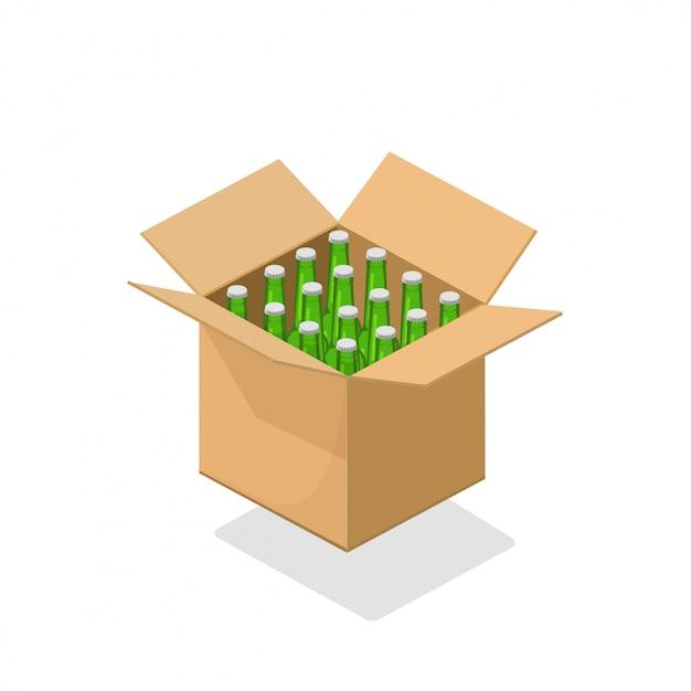 Garrafas de cerveja embalar ilustração de caixa de papelão Vetor Premium