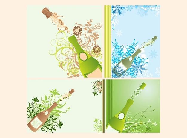 garrafas de champanhe estourando Vetor grátis