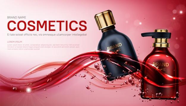 Garrafas de cosméticos de produtos de beleza simulado banner. Vetor grátis