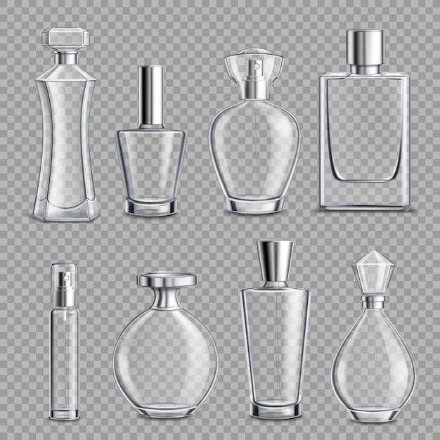Garrafas de vidro de perfume realista realista Vetor grátis