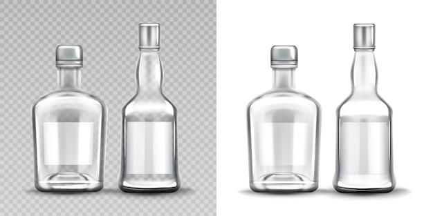 Garrafas de vidro de várias formas. vodka, rum, uísque Vetor grátis