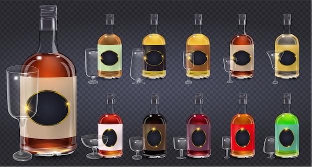 Garrafas de vidro ou copos de vetor ícones. frasco de vinagre de vinho de vidro com tampa plástica e etiqueta em branco. Vetor Premium