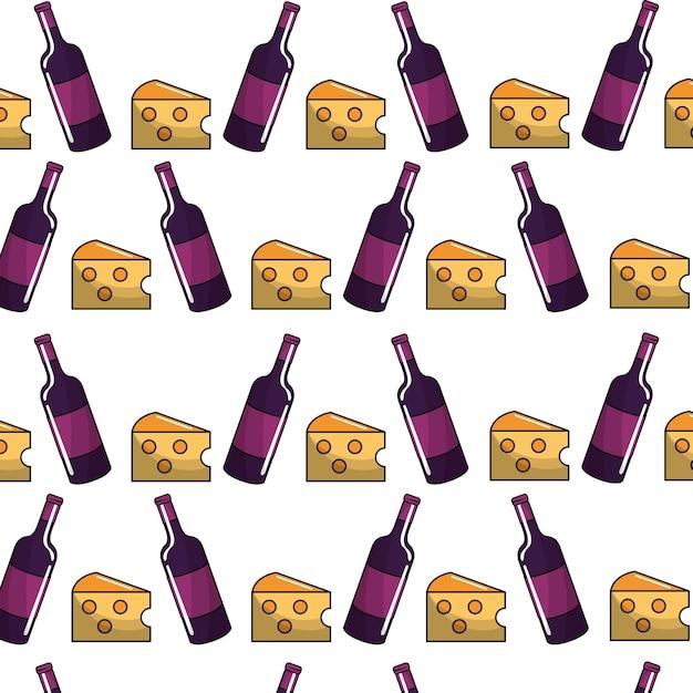 Garrafas de vinho com queijo backgroud ícone Vetor Premium