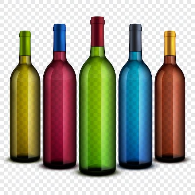 Garrafas de vinho de vidro transparente realistas isoladas no conjunto de vetores de fundo quadriculado. Vetor Premium
