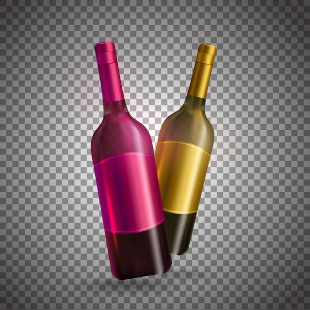 Garrafas de vinho realistas na cor cor-de-rosa e dourada no fundo transparente. Vetor Premium