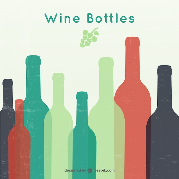 Garrafas de vinho silhuetas Vetor grátis
