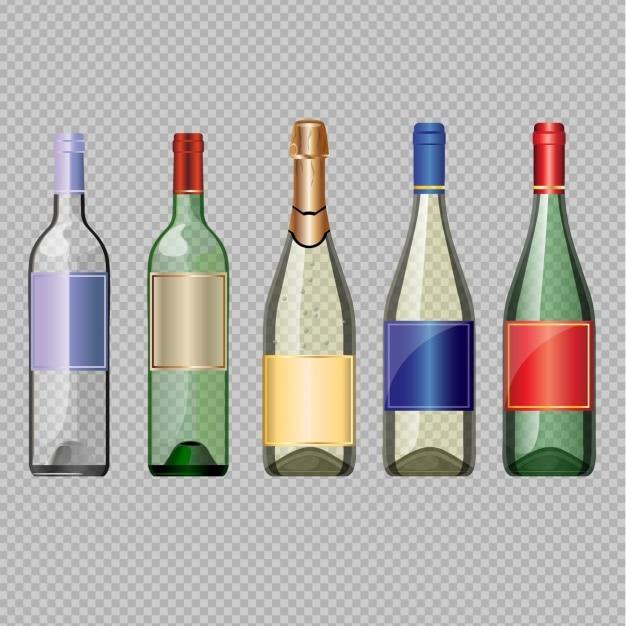 Garrafas de vinho vazias Vetor grátis