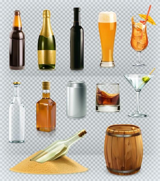 Garrafas e copos de bebida de álcool. conjunto de ícones 3d Vetor Premium