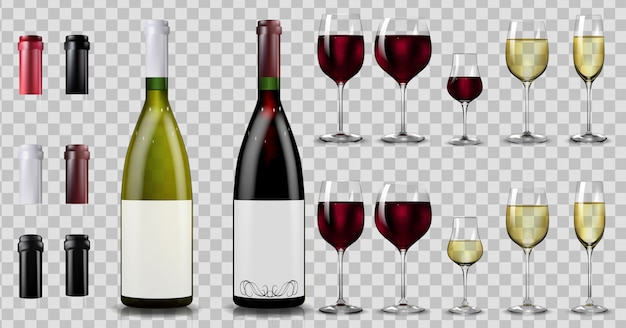 Garrafas e copos de vinho tinto e branco. realista Vetor Premium