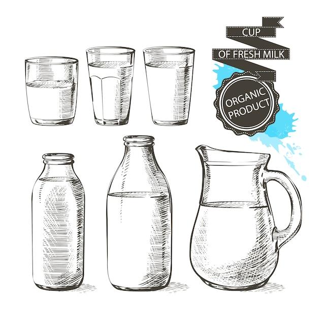 Garrafas e frascos com produtos lácteos frescos podem recipiente para leite isolado no fundo branco Vetor Premium