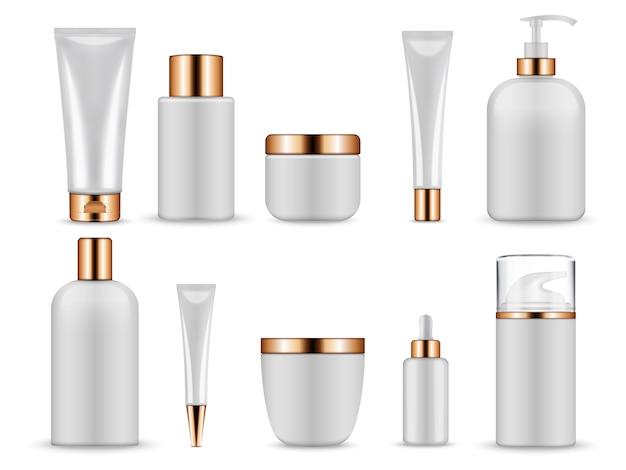 Garrafas e tubos brancos em branco para cosméticos. Vetor Premium