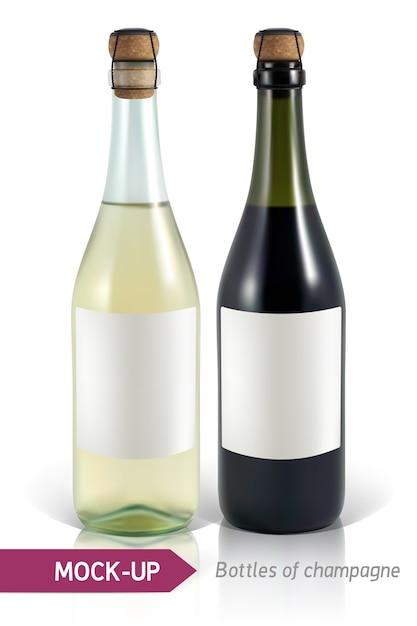 Garrafas realistas de champanhe em um fundo branco, com reflexão e sombra. modelo de etiqueta. Vetor Premium