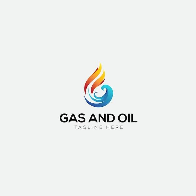 Gás e óleo com logotipo inicial g Vetor Premium