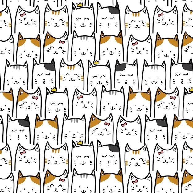 Gatinho adorável gato fofinho Vetor Premium