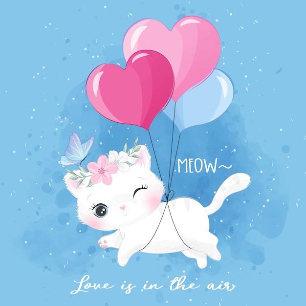 Gatinho bonitinho voando com balão Vetor Premium