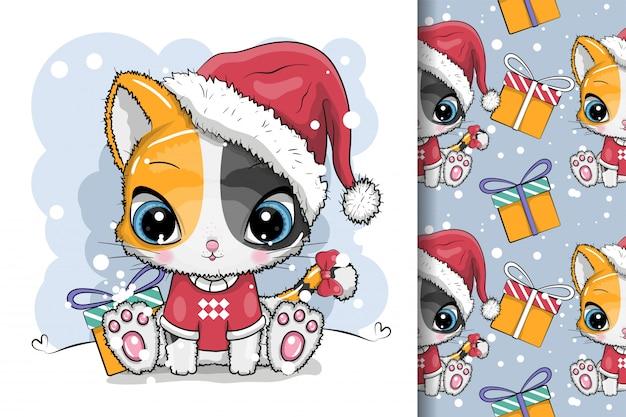 Gatinho bonito dos desenhos animados em um boné de malha senta-se na neve Vetor Premium