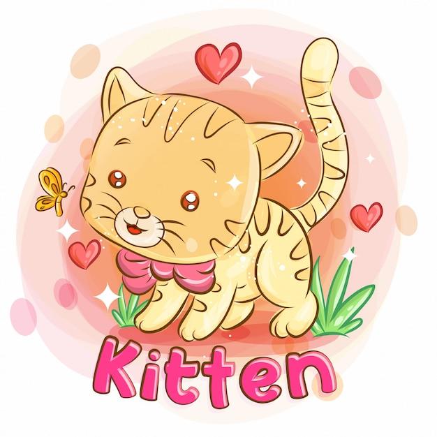 Gatinho fofo brincando no jardim e sentir amor. ilustração colorida dos desenhos animados. Vetor Premium