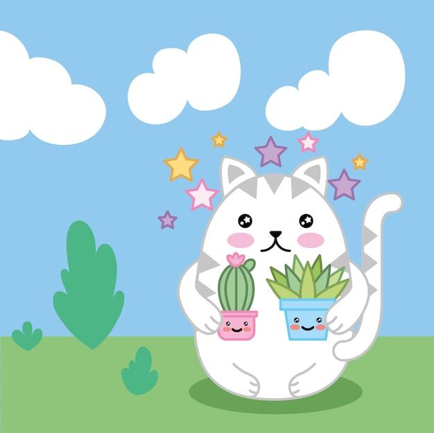 Gatinho fofo com plantas no campo design de personagens kawaii Vetor Premium