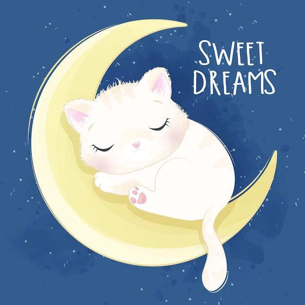 Gatinho fofo, dormindo na ilustração da lua Vetor Premium