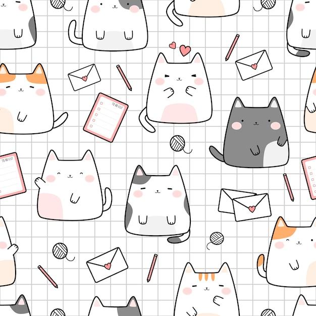 Gatinho fofo gato na grade dos desenhos animados doodle padrão sem emenda Vetor Premium
