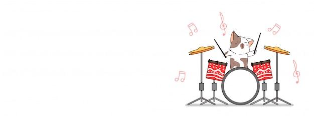 Gato adorável está tocando banner de ilustração de tambor Vetor Premium