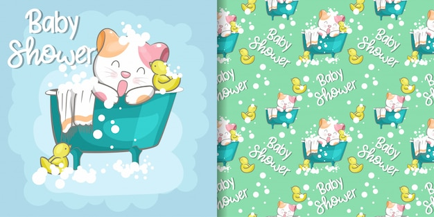 Gato bonito bebê chuveiro sem costura padrão e cartão de ilustração Vetor Premium