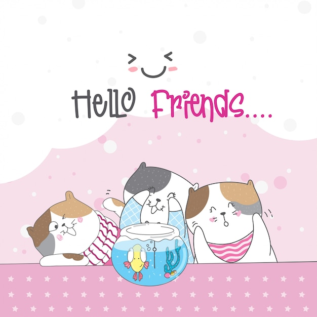 Gato bonito com amigos e peixes Vetor Premium