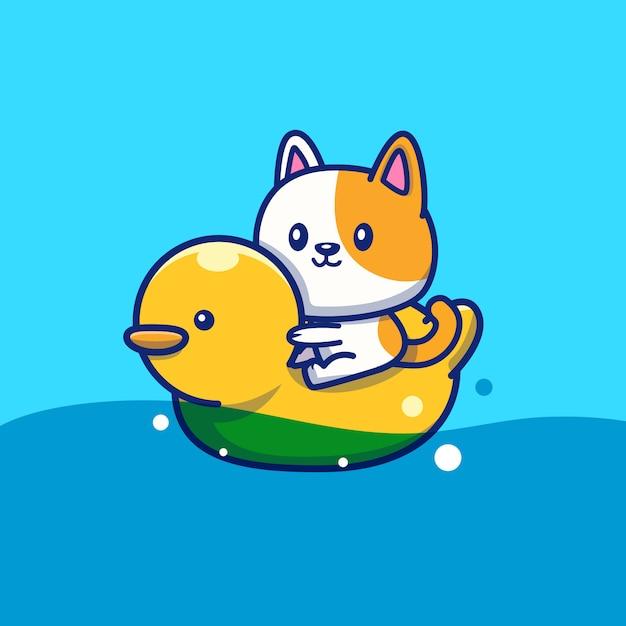 Gato bonito com anel de natação duck icon illustration. conceito de ícone de verão animal isolado. estilo cartoon plana Vetor Premium