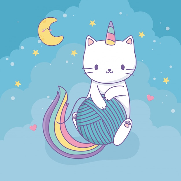 Gato bonito com caráter de kawaii de cauda de arco-íris Vetor Premium