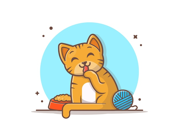 Gato bonito com comida e bola de fios Vetor Premium