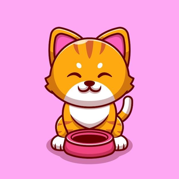 Gato bonito com ilustração do ícone dos desenhos animados da tigela do gato. Vetor grátis