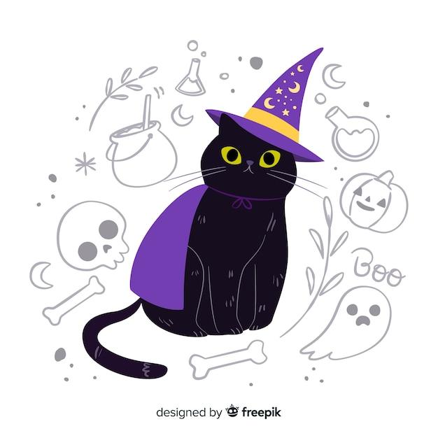 Gato bonito com olhos amarelos e chapéu de bruxa Vetor grátis