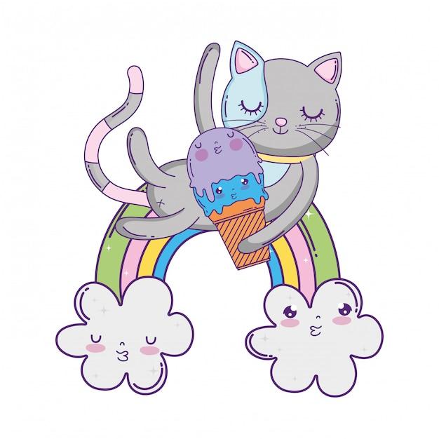 Gato bonito com sorvete no arco-íris Vetor Premium