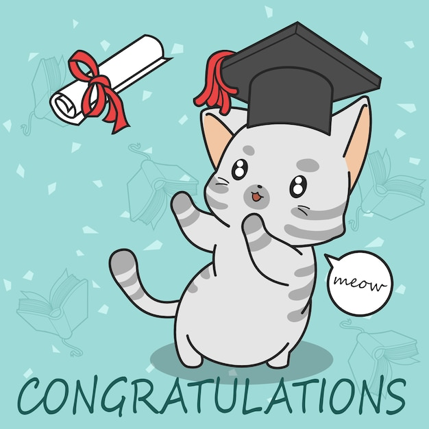 Gato bonito da graduação no estilo dos desenhos animados. Vetor Premium