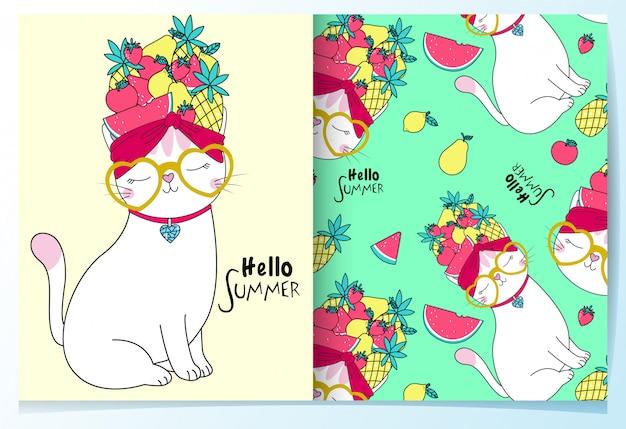 Gato bonito desenhado de mão com frutas padrão conjunto Vetor Premium